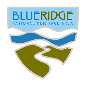 Logo that looks like a shield with mountains and river and the text Blue Ridge National Heritage Area
